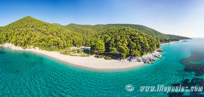 The beaches Kastani and Milia of Skopelos island from drone, Greece