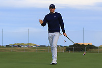 Rory McIlroy (NIR) on the 16th green during Round 3 of the Alfred Dunhill Links Championship 2019 at St. Andrews Golf CLub, Fife, Scotland. 28/09/2019.<br /> Picture Thos Caffrey / Golffile.ie<br /> <br /> All photo usage must carry mandatory copyright credit (© Golffile | Thos Caffrey)