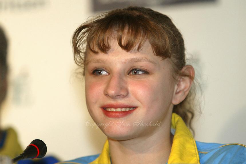 May 01, 2004; Amsterdam, Netherlands; ALINA KOZICH of Ukraine wins<br />All-Around Gold medal at 2004 European Championships Artistic Gymnastics.<br />Mandatory Credit: Tom Theobald/ ZUMA Press.<br />(&copy;) Copyright 2004 Tom Theobald