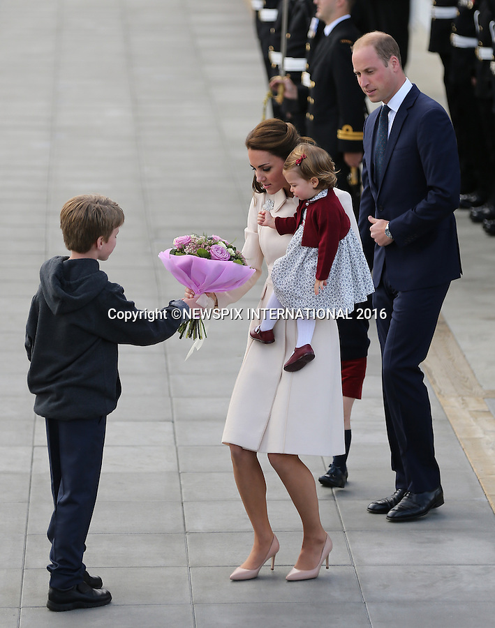 01.10.2016; Victoria, Canada: DUKE AND DUCHESS OF CAMBRIDGE, PRINCE GEORGE AND PRINCESS CHARLOTTE<br /> departed from Victoria Harbour by float plane at the end of their tour of Canada.<br /> Mandatory Photo Credit: &copy;Francis Dias/NEWSPIX INTERNATIONAL<br /> &quot;No UK Use Until 29/10/2016&quot;<br /> <br /> IMMEDIATE CONFIRMATION OF USAGE REQUIRED:<br /> Newspix International, 31 Chinnery Hill, Bishop's Stortford, ENGLAND CM23 3PS<br /> Tel:+441279 324672  ; Fax: +441279656877<br /> Mobile:  07775681153<br /> e-mail: info@newspixinternational.co.uk<br /> Usage Implies Acceptance of OUr Terms &amp; Conditions<br /> Please refer to usage terms. All Fees Payable To Newspix International