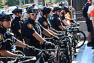 Cleveland, OH - July 19, 2016: Members of the Fort Worth Texas police bicycle squad separate protestors during the Republican National Convention in downtown Cleveland, Ohio, July 19, 2016.  (Photo by Don Baxter/Media Images International)