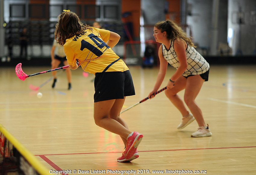 Action from the Senior Girls' final between Wellington Girls' College and Queen Margaret College. 2019 NZ Secondary School Floorball Championships at ASB Sports Centre in Wellington, New Zealand on Sunday, 31 March 2019. Photo: Dave Lintott / lintottphoto.co.nz