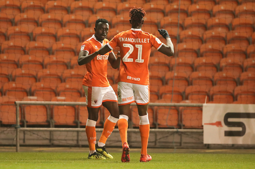 Blackpool's Joe Dodoo celebrates scoring his sides second goal with fellow team mate Blackpool's Armand Gnanduillet<br /> <br /> Photographer Rachel Holborn/CameraSport<br /> <br /> The EFL Checkatrade Trophy Group C - Blackpool v Accrington Stanley - Tuesday 13th November 2018 - Bloomfield Road - Blackpool<br />  <br /> World Copyright © 2018 CameraSport. All rights reserved. 43 Linden Ave. Countesthorpe. Leicester. England. LE8 5PG - Tel: +44 (0) 116 277 4147 - admin@camerasport.com - www.camerasport.com