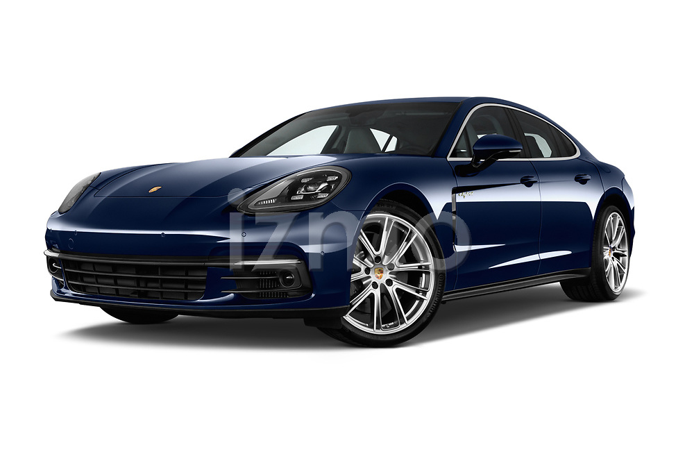 Stock pictures of low aggressive front three quarter view of a 2018 Porsche Panamera 4 E-Hybrid 5 Door Hatchback