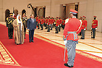 A handout photo provided by the Egyptian Presidency shows Kuwaiti Amir Sheikh Sabah Al-Ahmad Al-Jaber Al-Sabah receiving Egyptian President Abdel Fattah al-Sisi at Kuwait Airport, Kuwait City, Kuwait, January 05, 2015. Al-Sisi arrived on two-day official visit. Egyptian Presidency