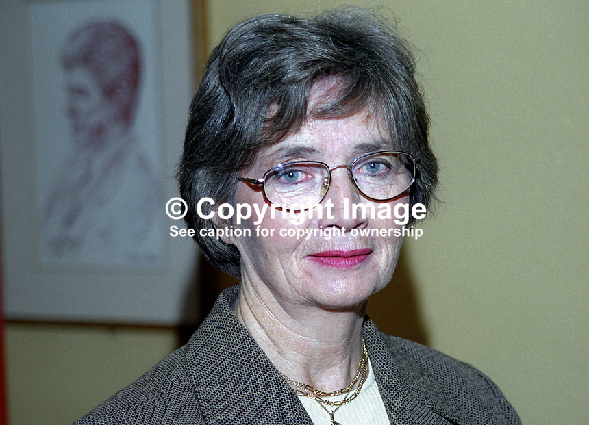 Brid Rodgers, SDLP, MLA, Upper Bann, N Ireland Assembly, 199911037.<br /> <br /> Copyright Image from Victor Patterson,<br /> 54 Dorchester Park, <br /> Belfast, UK, BT9 6RJ<br /> <br /> t1: +44 28 9066 1296 (from Rep of Ireland 048 9066 1296)<br /> t2: +44 28 9002 2446 (from Rep of Ireland 048 9002 2446)<br /> <br /> m: +44 7802 353836<br /> <br /> e: victorpatterson@me.com<br /> www.victorpatterson.com<br /> <br /> Please see my Terms and Conditions of Use at www.victorpatterson.com. It is IMPORTANT that you familiarise yourself with them.<br /> <br /> Images used on the Internet must be visibly watermarked i.e. &copy; Victor Patterson<br /> within the body of the image and copyright metadata must not be deleted. Images <br /> used on the Internet have a size restriction of 4kbs and will be chargeable at current<br />  NUJ rates unless agreed otherwise.<br /> <br /> This image is only available for the use of the download recipient i.e. television station, newspaper, magazine, book publisher, etc, and must not be passed on to any third <br /> party. It is also downloaded on condition that each and every usage is notified within 7 days to victorpatterson@me.com<br /> <br /> The right of Victor Patterson to be identified as the author is asserted in accordance with The Copyright Designs And Patents Act (1988). All moral rights are asserted.