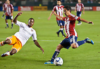 CARSON, CA – July 23, 2011: Chivas USA midfielder Francisco Mendoza (6) during the match between Chivas USA and Houston Dynamo at the Home Depot Center in Carson, California. Final score Chivas USA 3, Houston Dynamo 0.