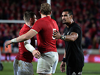 Jerome Kaino pats Alun Wyn Jones on the back after the 2017 DHL Lions Series rugby union 3rd test match between the NZ All Blacks and British & Irish Lions at Eden Park in Auckland, New Zealand on Saturday, 8 July 2017. Photo: Dave Lintott / lintottphoto.co.nz