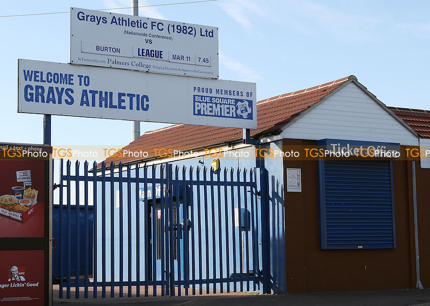 The entrance gates at the New Rec, home of Grays Athletic Football Club. The club faces suspension from all competitions by the FA for refusing to pay Ashley Sestanovich £14,000 after terminating his contract before his conviction for conspiracy to rob. Mr Sestanovich was jailed for 8 years in April 2007 - 07/03/08 - MANDATORY CREDIT: Rob Newell/TGSPHOTO