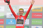 Race leader Simon Yates (GBR) Mitchelton-Scott on the podium smiling as he knows he has won the overall at the end of Stage 20 of the La Vuelta 2018, running 97.3km from Andorra Escaldes-Engordany to Coll de la Gallina, Spain. 15th September 2018.                   <br /> Picture: Colin Flockton | Cyclefile<br /> <br /> <br /> All photos usage must carry mandatory copyright credit (&copy; Cyclefile | Colin Flockton)