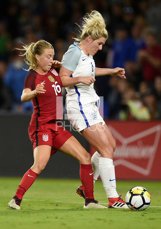 Orlando City, FL - Wednesday March 07, 2018: Emily Sonnett during a 2018 SheBelieves Cup match between the women's national teams of the United States (USA) and England (ENG) at Orlando City Stadium.