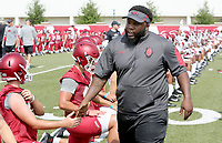 NWA Democrat-Gazette/DAVID GOTTSCHALK   Arkansas Razorback's Kiero Smalll at the beginning of drills Friday, July 28, 2017, during practice on campus in Fayetteville.