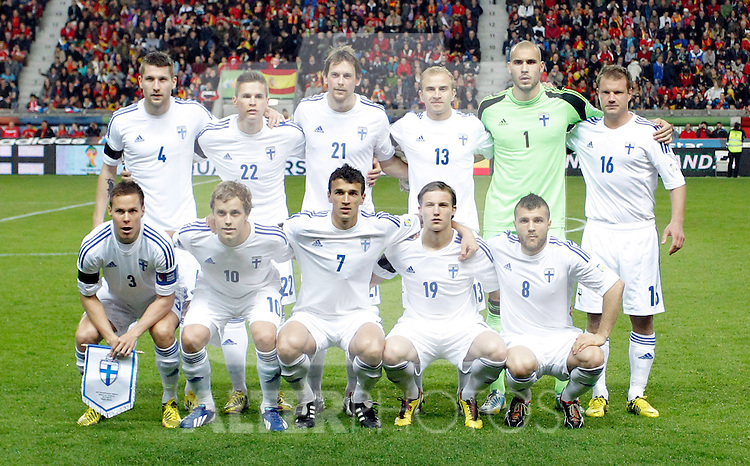 Finland's players during international match of the qualifiers for the FIFA World Cup Brazil 2014.March 22,2013.(ALTERPHOTOS/Victor Blanco)