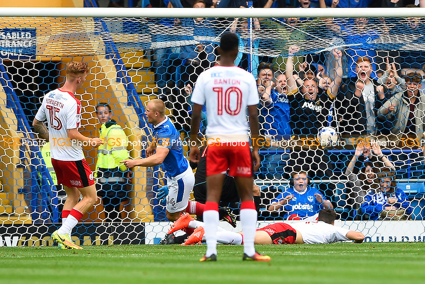 Curtis Main of Portsmouth scores the first goal and ce;lebrates during Portsmouth vs Crawley Town, Sky Bet EFL League 2 Football at Fratton Park on 3rd September 2016