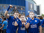 Leicester's fans pose with Jamie Vardy masks during the Barclays Premier League match at the King Power Stadium.  Photo credit should read: David Klein/Sportimage