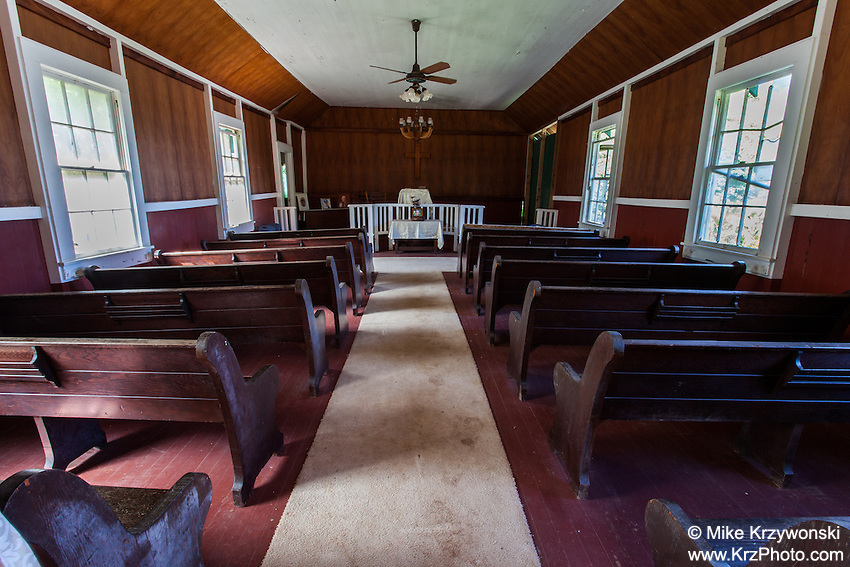 Interior of Kahakuloa Congregational Church in Old Kahakuloa Village, Maui