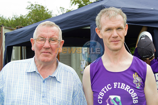 Peter Hughes and Gerard Fay prior to Gerard setting off on his 24 hour walk..Picture: Shane Maguire / www.newsfile.ie.