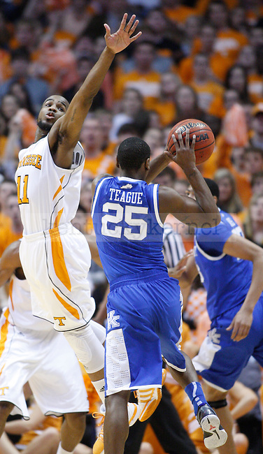 Tennessee Guard Trae Golden attempts to block UK freshman guard Marquis Teague's shot during the first half of UK's game against Tennessee at Thompson-Boling Arena in Knoxville, Tenn., Jan. 14, 2012.Photo by Brandon Goodwin | Staff