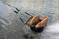 Barefoot skier Gizella Halasz practices during the training day of an international slalom water ski competition in Kal, Hungary. Friday, 07. August 2009. ATTILA VOLGYI