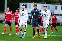 (L-R) Jack Evans, Josh Gould, Brandon Cooper of Swansea City u23s' during the Premier League 2 Division Two match between Swansea City u23s and Middlesbrough u23s at Swansea City AFC Training Academy  in Swansea, Wales, UK. Monday 13 January 2020.