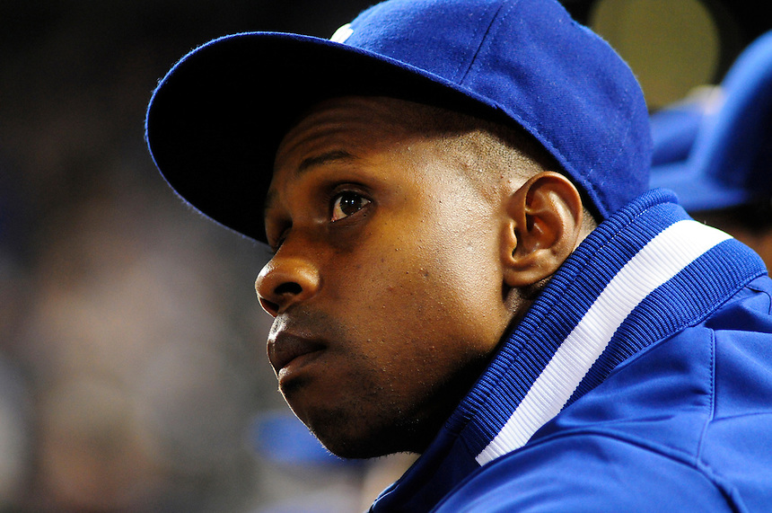 12 September 2008: Los Angeles Dodgers outfielder Juan Pierre watches the action from the dugout during a game against the Colorado Rockies. The Dodgers defeated the Rockies 7-2 at Coors Field in Denver, Colorado.
