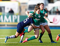 2nd February 2020; Energia Park, Dublin, Leinster, Ireland; International Womens Rugby, Six Nations, Ireland versus Scotland; Lauren Delany of Ireland is tackled by Chloe Rollie of Scotland