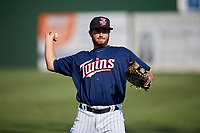 Elizabethton Twins first baseman Chris Williams (40) warms up before a game against the Bristol Pirates on July 28, 2018 at Joe O'Brien Field in Elizabethton, Tennessee.  Elizabethton defeated Bristol 5-0.  (Mike Janes/Four Seam Images)