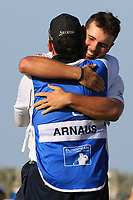 Adri Arnaus (ESP) and caddie Ignacio Garrido (ESP) during the final round of the Ras Al Khaimah Challenge Tour Grand Final played at Al Hamra Golf Club, Ras Al Khaimah, UAE. 03/11/2018<br /> Picture: Golffile | Phil Inglis<br /> <br /> All photo usage must carry mandatory copyright credit (&copy; Golffile | Phil Inglis)