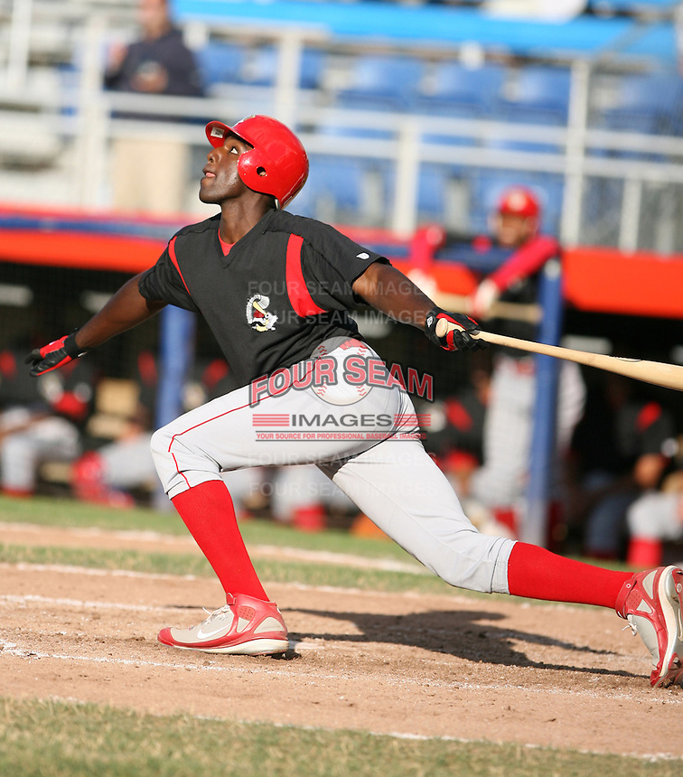 2007:  Jermaine Williams of the Williamsport Crosscutters, Class-A affiliate of the Philadelphia Phillies, during the New York-Penn League baseball season.  Photo By Mike Janes/Four Seam Images