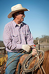 Cowboy Gary Poggio, wInter calf marking and branding with the Joeses outfit near Calaveritas, Calaveras County, Calif.