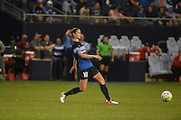 Kansas City, Kansas - Saturday April 16, 2016: FC Kansas City midfielder Yael Averbuch (10) clears the ball against Western New York Flash at Children's Mercy Park. Western New York won 1-0.