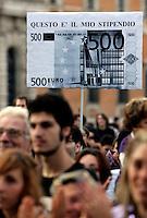 """Manifestazione No B-Day 2 (No Berlusconi-Day 2) a Roma, 2 ottobre 2010, contro il Presidente del Consiglio Silvio Berlusconi..Demonstrators attend the No B-Day 2 (No Berlusconi-Day 2) rally in downtown Rome, 2 october 2010, against the Italian Premier Silvio Berlusconi..The sign reads """"This is my pay""""..UPDATE IMAGES PRESS/Riccardo De Luca"""