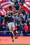 Thomas Teye Partey of Atletico de Madrid (R) fights for the ball with Mikel Vesga Arruti of Athletic Club de Bilbao (L) during the La Liga 2017-18 match between Atletico de Madrid and Athletic de Bilbao at Wanda Metropolitano  on February 18 2018 in Madrid, Spain. Photo by Diego Souto / Power Sport Images
