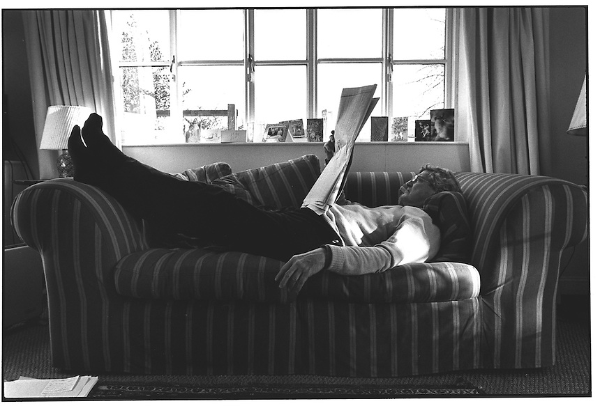 My father, John Wiseman, reading the paper on the sofa in Thakston Cottage, Somerset. 12-96
