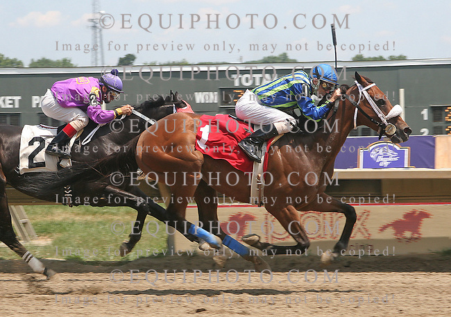 Uncle Greg #1 with Stewart Elliott won race 3 at Parx Racing in Bensalem, Pennsylvania July 10, 2012.  Photo By Barbara Weidl/EQUI-PHOTO