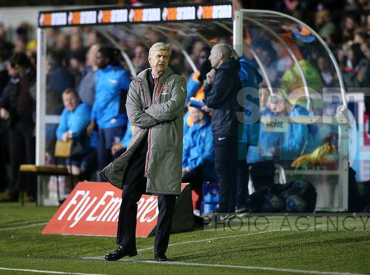 Arsenal's Arsene Wenger looks on dejected during the FA Cup Fifth Round match at the Borough Sports Ground Stadium, London. Picture date: February 20th, 2017.Pic credit should read: David Klein/Sportimage