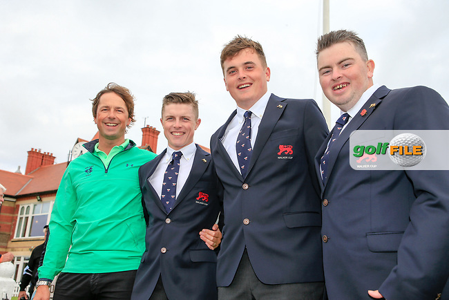 Irish national coach Neil Manchip with Conor Purcell  (GB&I) James Sugrue (GB&I) and Caolan Rafferty (GB&I) after the opening ceremony at the Walker Cup, Royal Liverpool Golf CLub, Hoylake, Cheshire, England. 06/09/2019.<br /> Picture Fran Caffrey / Golffile.ie<br /> <br /> All photo usage must carry mandatory copyright credit (© Golffile | Fran Caffrey)
