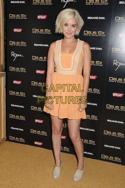 "Brea Grant.""Deus Ex: Human Revolution"" Launch Party held at The Roxbury, Hollywood, California, USA..August 23rd, 2011.full length dress sleeveless beige yellow orange.CAP/ADM/BP.©Byron Purvis/AdMedia/Capital Pictures."