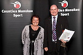 A colleaguereceives the Referee/Umpire/Official award on behalf of Jan -Hendrik Hintz, Auckland Football Federation, . Counties Manukau Sport Sporting Excellence Awards held at Testra Clear Pacific Events Centre, Manukau, on Thursday 9th December 2010.