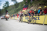 Eventual stage winner Dylan Theuns (BEL/Bahrein-Merida) leads Giulio Ciccone (ITA/Trek-Segafredo) up the gravel section in the final stretch to the finish line up La Planche des Belles Filles<br /> <br /> Stage 6: Mulhouse to La Planche des Belles Filles (157km)<br /> 106th Tour de France 2019 (2.UWT)<br /> <br /> ©kramon
