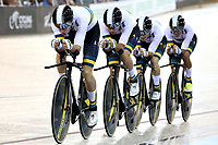 CAMBRIDGE, NEW ZEALAND - JANUARY 18: Australia compete in the Men's Team Pursuit during the 2018 UCI Track World Cup on January 18, 2019 in Cambridge, New Zealand.