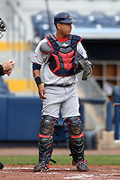 Fort Myers Miracle catcher Jairo Rodriguez (20) during a game against the Charlotte Stone Crabs on April 16, 2014 at Charlotte Sports Park in Port Charlotte, Florida.  Fort Myers defeated Charlotte 6-5.  (Mike Janes/Four Seam Images)