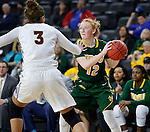 SIOUX FALLS, SD: MARCH 4: Sarah Jacobson #12 of North Dakota State looks past IUPUI defender Kelsi Byrd #3 on March 4, 2017 during the Summit League Basketball Championship at the Denny Sanford Premier Center in Sioux Falls, SD. (Photo by Dick Carlson/Inertia)