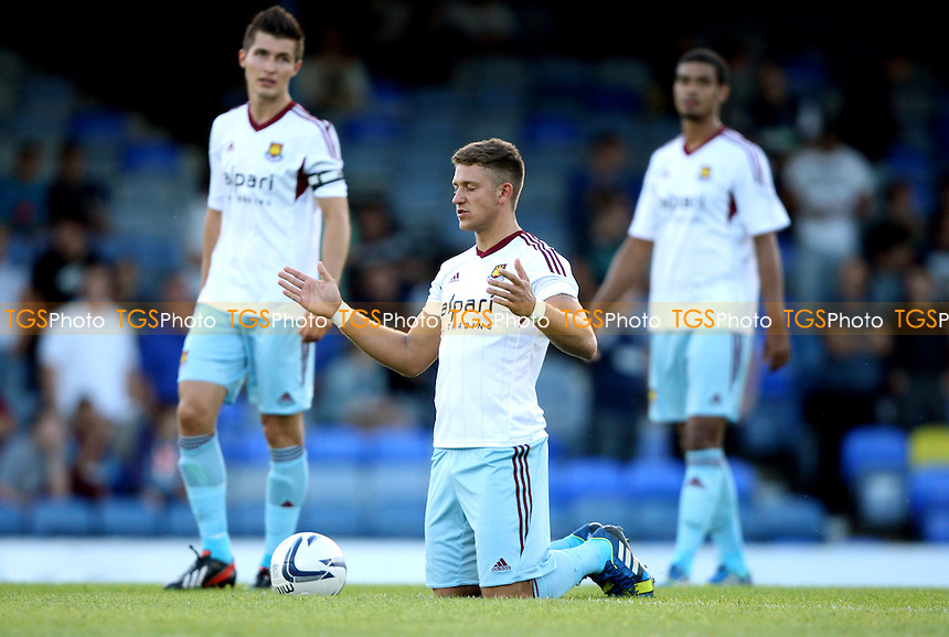 George Moncur of West Ham says his prayers before kick off - Southend United vs West Ham United XI, Pre-Season Friendly at Roots Hall, Southend - 29/07/13 - MANDATORY CREDIT: Rob Newell/TGSPHOTO - Self billing applies where appropriate - 0845 094 6026 - contact@tgsphoto.co.uk - NO UNPAID USE