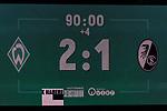 02.11.2019, wohninvest WESERSTADION, Bremen, GER, 1.FBL, Werder Bremen vs SC Freiburg<br /> <br /> DFL REGULATIONS PROHIBIT ANY USE OF PHOTOGRAPHS AS IMAGE SEQUENCES AND/OR QUASI-VIDEO.<br /> <br /> im Bild / picture shows<br /> Anzeigetafel / in der Nachspielzeit, Stand 2:1, Feature, <br /> <br /> Foto © nordphoto / Ewert