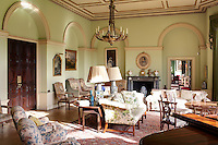 Inside the house on the Clandeboye estate, which is the home to Lady Dufferin, Marchioness of Dufferin and Ava. The green drawing room.