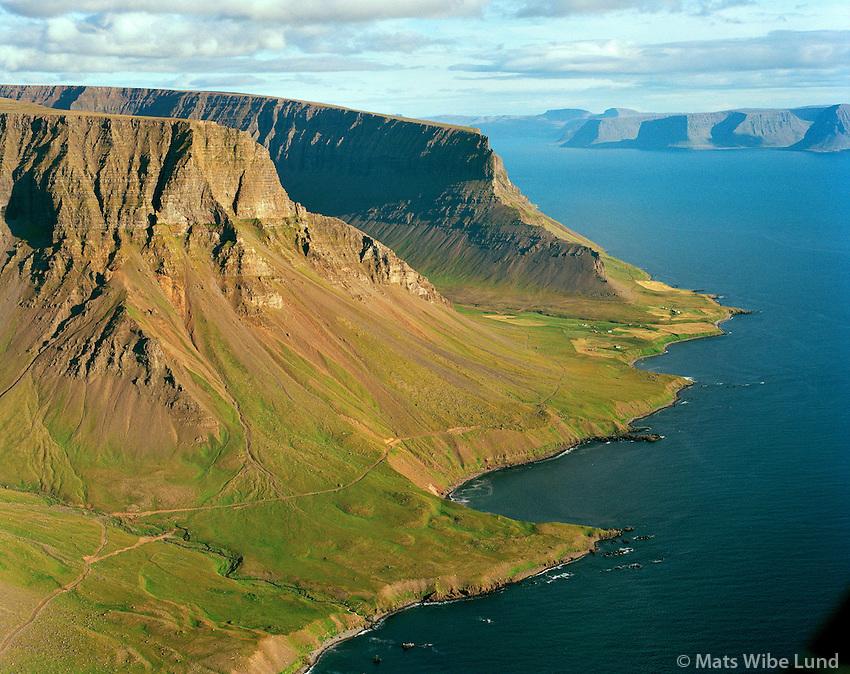 Dalur, Lokinhamrar og Hrafnabjörg, Auðkúluhreppu. Arnarfjörður í baksýni. Loftmybnd.Dalur Lokinhamrara og Hrafnabjorgall deserted farms, Audkuluhreppur. Arnarfjordur in background. Aerial.