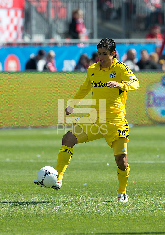 31 March 2011: Columbus Crew midfielder Milovan Mirosevic #10 in action during a game between the Columbus Crew and the Toronto FC at BMO Field in Toronto, Ontario Canada..The Columbus Crew won 1-0.