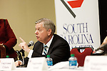 "March 26, 2013. Columbia, South Carolina. Sen. Lindsey Graham sat on discussion panel at a South Carolina Chamber of Commerce event billed as ""Washington Night in South Carolina"".  US Representatives Jim Clyburn, Trey Gowdy, Mick Mulvaney, and Tom Rice were also on the panel.. Sen. Lindsey Graham, R- South Carolina, is up for reelection in 2014. He spent some time talking to his base back home about issues such as immigration reform as he readies himself for his campaign run.."