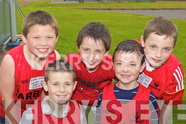 Tarbert NS relay team at the County National Schools athletics finals in Castleisland On Saturday l-r: Murtie Moriarty, Bobby Wren, Cormac Healy, Jamie O'Mahony and Adam O'Mahony